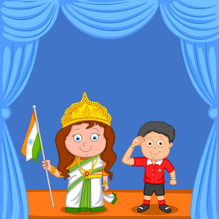 bharat: Indian brother and sister with flag of India in vector background
