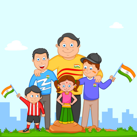 sisters: Indian kid hoisting flag of India in vector background Illustration