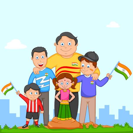 niño y niña: Niño indio izar la bandera de la India en vector de fondo