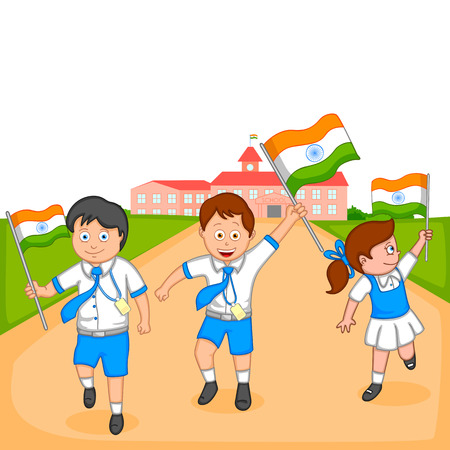 school girl: Indian kid hoisting flag of India in vector background Illustration