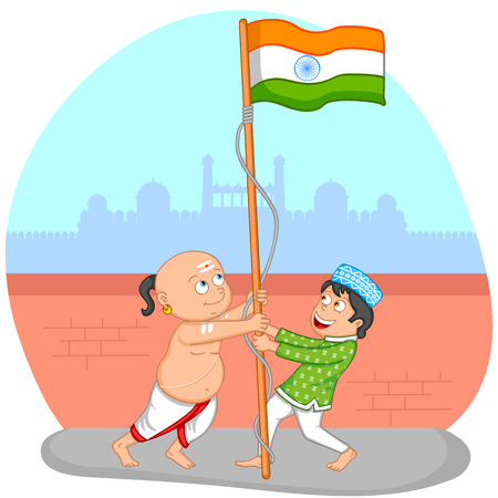 hoisting: Indian boys hoisting flag of India in vector background showing unity in diversity Illustration