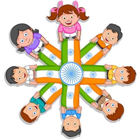 Indiase kind het hijsen van de vlag van India in vector achtergrond Stock Illustratie