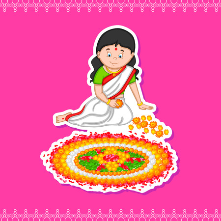 pookolam: Woman making rangoli for Indian festival, Onam