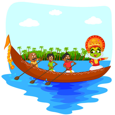 kerala culture: Kathakali dancer doing boat race of Kerala for Onam celebration