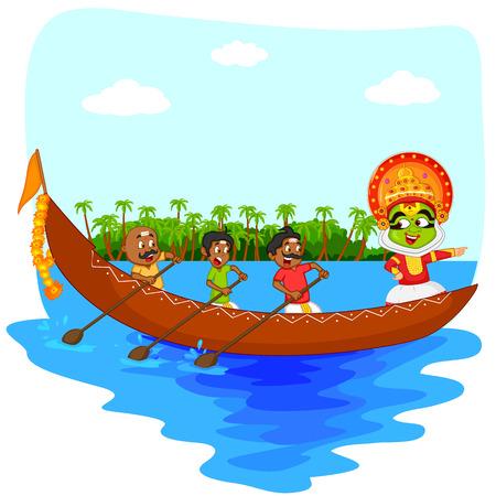 boat race: Kathakali dancer doing boat race of Kerala for Onam celebration