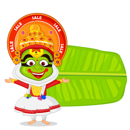 Kathakali dancer wishing Happy Onam