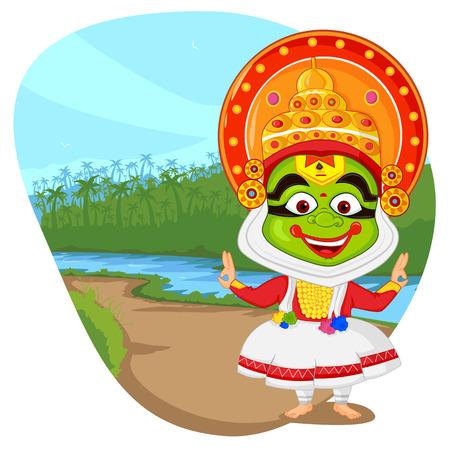 wishing: Kathakali dancer wishing Happy Onam