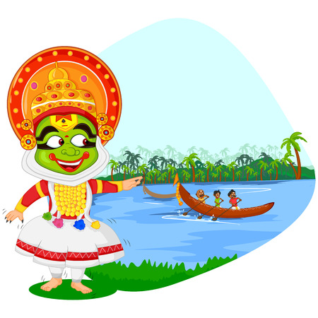 onam: Kathakali dancer doing boat race of Kerala for Onam celebration