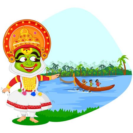 kerala: Kathakali dancer doing boat race of Kerala for Onam celebration