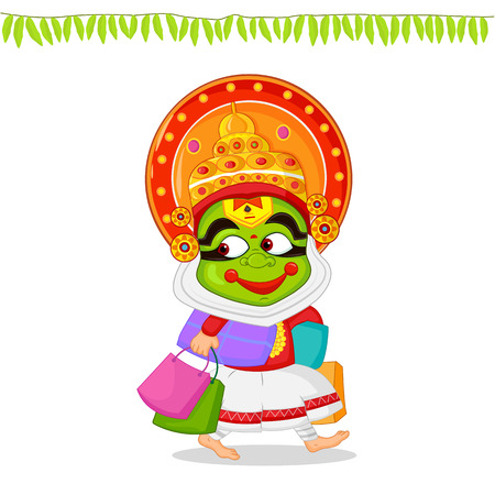 onam: Kathakali dancer offering shopping sale for Onam Illustration