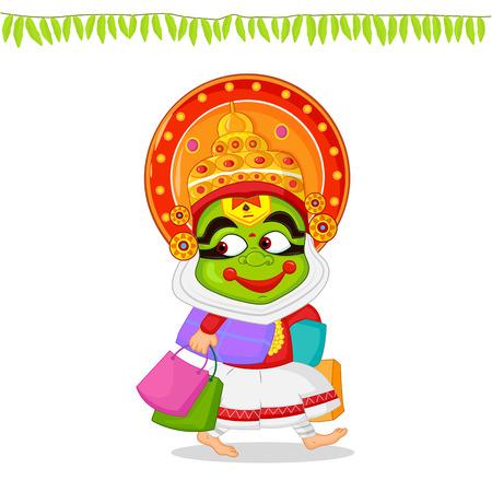 kathakali: Kathakali dancer offering shopping sale for Onam Illustration