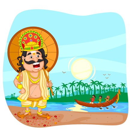 onam: King Mahabali for Onam festival Illustration