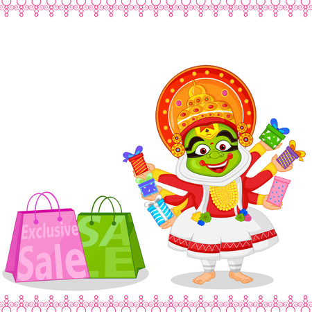 festival people: Kathakali dancer offering shopping sale for Onam Illustration