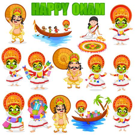bailarin hombre: Rey Mahabali para Onam festival, India