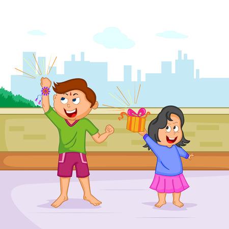 raksha bandhan: Brother and Sister in Raksha Bandhan Illustration