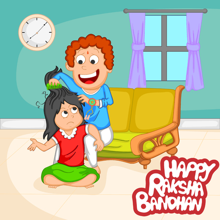 brother sister: Brother and Sister in Raksha Bandhan  Illustration