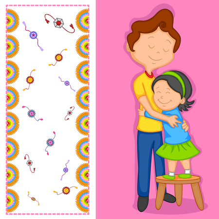 raksha: Brother and Sister in Raksha Bandhan Vettoriali