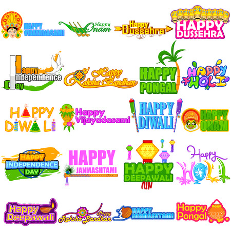 Different Festivals of India  like Diwali, DUssehra, Holi, Onam, Pongal, Independence Day and Janmashtami Illustration