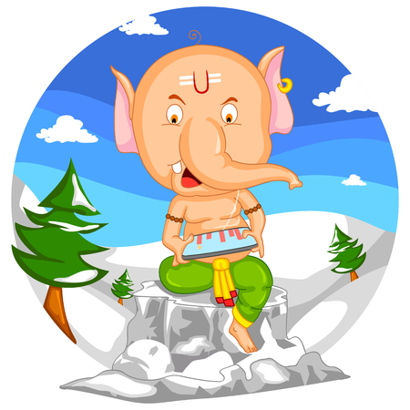 mangal: Lord Ganesha in vector for Happy Ganesh Chaturthi