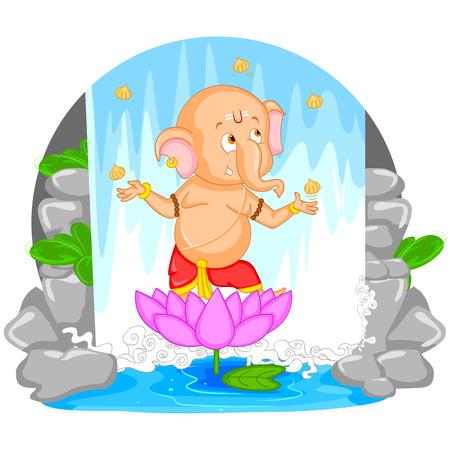 ganesh: Se�or Ganesha en el vector de feliz Ganesh Chaturthi Vectores