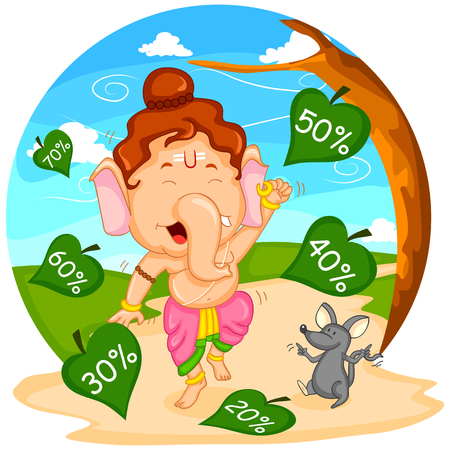 ganesh: Lord Ganesha in vector for Happy Ganesh Chaturthi sale offer
