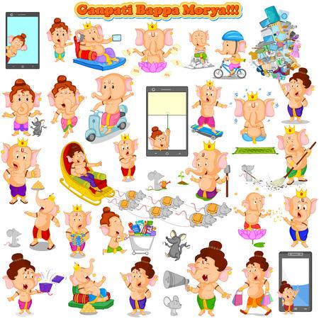 ganesh: Se�or Ganesha en el vector de feliz Ganesh Chaturthi con el texto Ganpati Bappa Morya, Mi Se�or Ganpati
