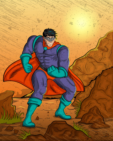 charismatic: Retro style comics Superhero showing is power strength in vector