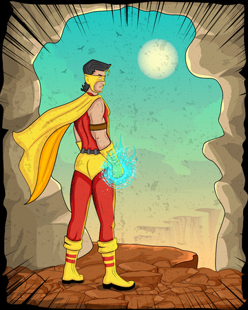 empowerment: Retro style comics Superhero showing is power strength in vector