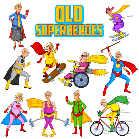 charismatic: Retro style comics Superhero old man and woman showing is power strength in vector