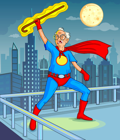 superman: Retro style comics Superhero old man showing is power strength in vector Illustration