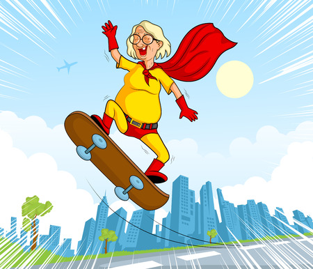 crime fighter: Retro style comics Superhero old woman showing power and strength