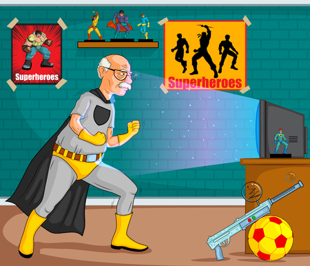 old style retro: Retro style comics Superhero old man showing is power strength in vector Illustration
