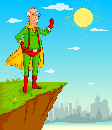 charismatic: Retro style comics Superhero old man showing is power strength in vector Illustration