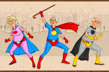 Retro-stijl comics Superhero oude man en vrouw die is macht kracht in vector Stock Illustratie