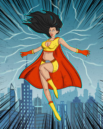 superwoman: Retro style comics Superwoman showing power and strength