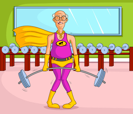 old style retro: Retro style Superhero old woman showing power and strength