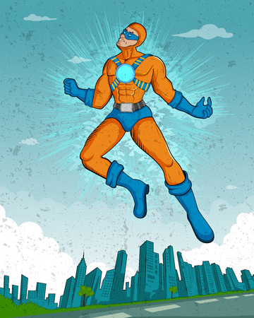 supernatural power: Retro style comics Superhero showing is power strength in vector