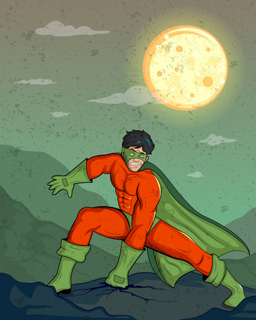 superhuman: Retro style comics Superhero showing is power strength in vector