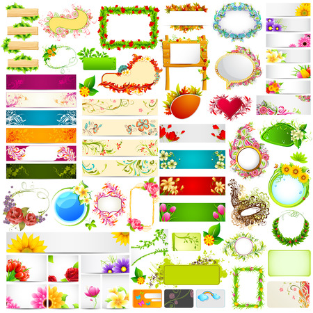 white flowers: illustration of set of colorful floral banner jumbo collection with different flower Illustration