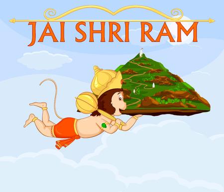 indian god: Lord Hanuman flying with gandamadana parvatham