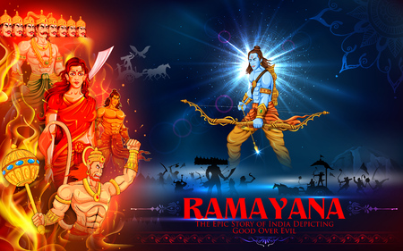 religious backgrounds: illustration of Lord Ram, Sita, Laxmana, Hanuman and Ravana in Dussehra poster Illustration
