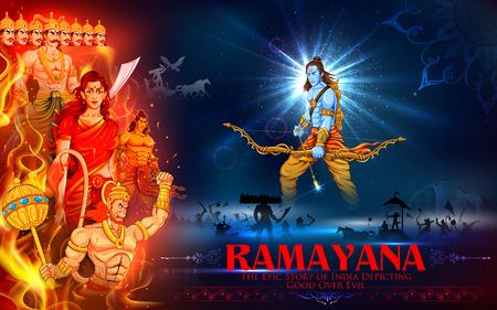 carnero: ilustraci�n de Lord Ram, Sita, Laxmana, Hanuman y Ravana en cartel Dussehra