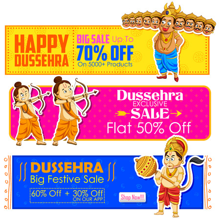 ravana: illustration of Happy Dussehra banner with Rama, Laxmana, Hanuman and Ravana