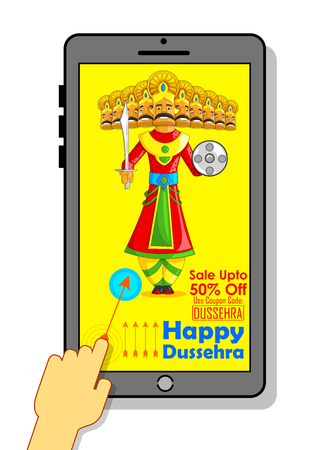headed: illustration of ten headed Ravana for Happy Dussehra mobile application sale promotion
