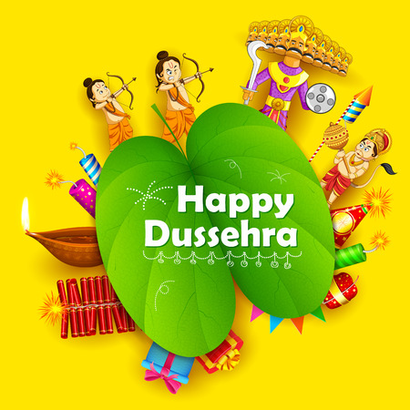worship: illustration of Lord Rama, Laxmana, Hanuman and Ravana with sona patta in Happy Dussehra background