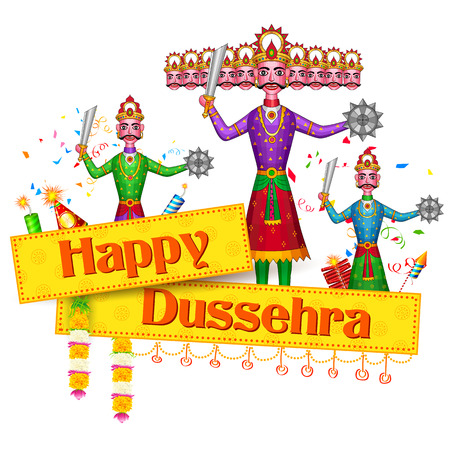 ramayana: illustration of Ravan Dahan for Happy Dusshera celebration Illustration