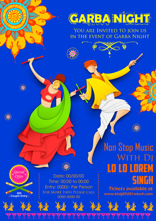 disco girls: illustration of couple playing Dandiya in disco Garba Night poster