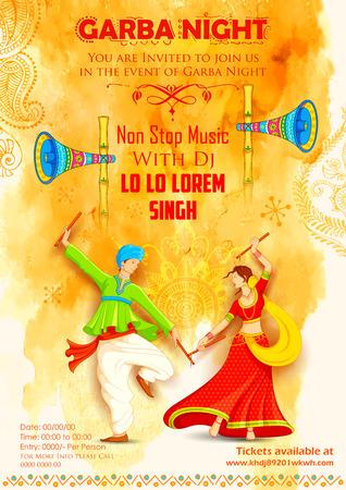 祝賀会: ディスコ Garba 夜ポスターで Dandiya を遊ぶカップルのイラスト