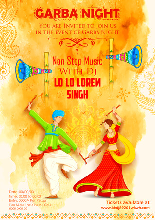 instruments: illustration of couple playing Dandiya in disco Garba Night poster