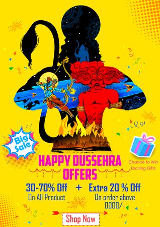 ravana: illustration of Lord Rama killing Ravana in Happy Dussehra sale promotion poster